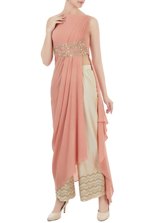 Shop Shruti Ranka - Rust pink draped style tunic with palazzo pants Latest Collection Available at Aza Fashions