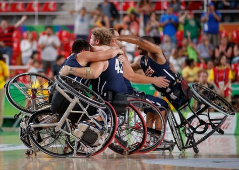 The USA team celebrates after winning the Gold Medal in their final match against Spain of  Wheelchair Basketball in the Rio Olympic Arena during the Paralympic Games in Rio de Janeiro, Brazil, on September 17, 2016. Photo by Simon Bruty for OIS/IOC via AFP. RESTRICTED TO EDITORIAL USE. / AFP / Simon Bruty for OIS/IOC / Photo by Simon Bruty for OIS/IOC via AFP. RESTRICTED TO EDITORIAL USE.