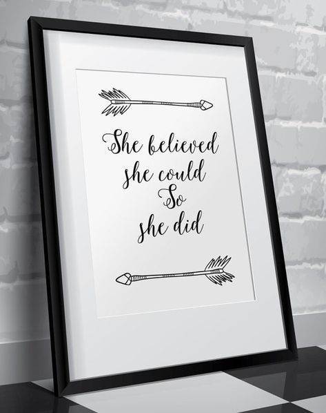 She believed she could so she did Wall art nursery decor graduation gift home decor typography art poster inspirational quote digital BD-382