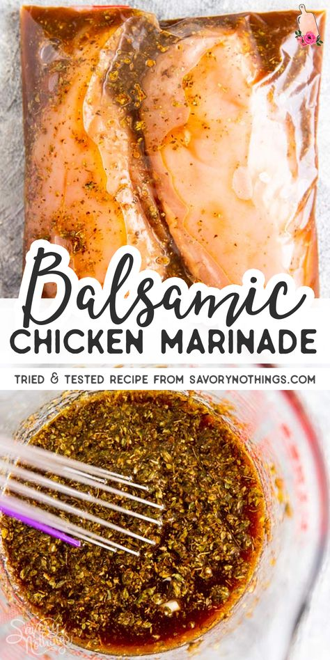 This is the best Balsamic Chicken Marinade you'll ever make! Flavorful with lemon juice, garlic, soy sauce and herbs, it's an essential recipe for summer. Freeze the chicken in the marinade for extra quick dinner prep! Chicken marinade adds so much e Balsamic Chicken Marinades, Chicken Marinade Recipes, Marinade Sauce, Grilling Recipes, Balsamic Marinade, Chicken Marinade For Grilling, Healthy Chicken Marinades, Chicken Breast Marinades, Grilled Chicken Seasoning