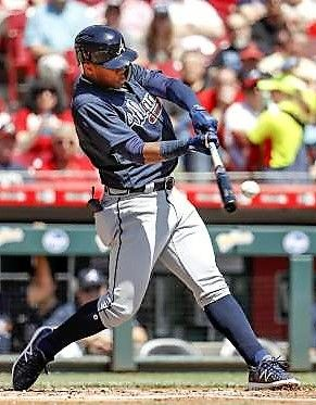 Solo Run The Braves Ronald Acuna Jr Hits A Solo Home Run Off Reds Starting Pitcher Homer Bailey On April 26 In Cin Braves Baseball Star Atlanta Braves
