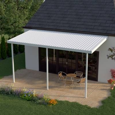 Feria 20 Ft W X 10 Ft D Plastic Standard Patio Awning Aluminum Patio Covers Patio Awning Carport Patio