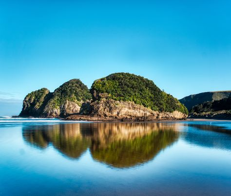 Another 1 of 1,000 empty beaches in New Zealand... what a great place to be stuck in during the pandemic! This is Te Henga (Bethells Beach), where the Waitakere River flows into the Tasman Sea (the sea between New Zealand and Australia). At the end of this beach is a massive cave where you can find and frolic with some penguins. I read a recent science article that claims that penguins actually originated here in NZ, but I'm not sure about that... fake penguin-news and all... #TreyRatcliff #NZ