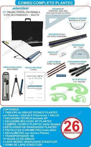 Kit Premium Tablero Plantec Dibujo Tecnico 26 Articulos 5 782 00 Tablero De Dibujo Tecnico Tablero De Dibujo Tecnicas De Dibujo