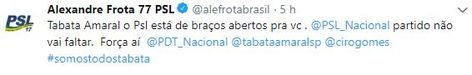 Tabata Amaral é convidada a se filiar ao PSL através de Alexandre Frota