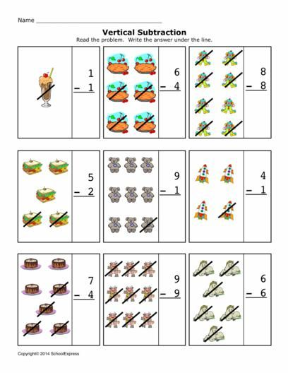 Free Math Worksheets Subtraction Differences  Vertical