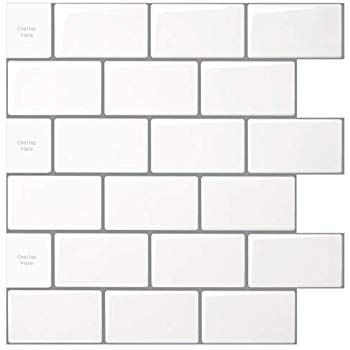 Amazon Com 10 Sheet Peel And Stick Tile For Kitchen Backsplash 12x12 Inches White Subway Tile With In 2020 Stick On Tiles Kitchen Tiles Backsplash Bathroom Wall Tile