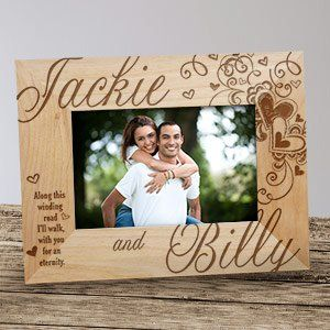Engraved Couples Hearts Wood Frame Wedding Wood Picture Frames