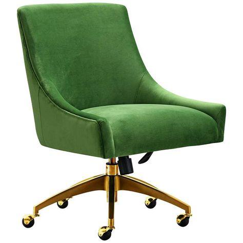 Beatrix Green Velvet Adjustable Swivel Office Chair 60v25 Lamps Plus Upholstered Office Chair Swivel Office Chair Modern Office Chair