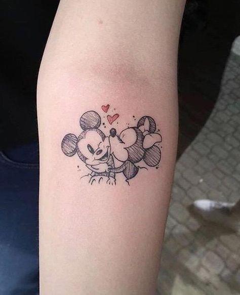 Mickey and Minnie Smooch - Disney Tattoo - tattoos Mickey Tattoo, Mickey And Minnie Tattoos, Tattoo Disney, Disney Couple Tattoos, Cute Disney Tattoos, Disney Inspired Tattoos, Disney Sleeve Tattoos, Body Art Tattoos, Small Tattoos