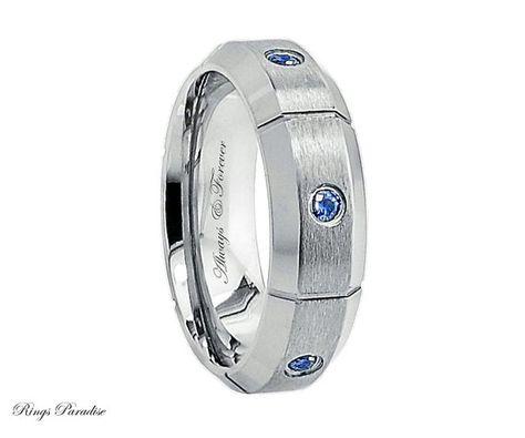 7MM Matte Finish Beveled Edge Comfort Fit Titanium Wedding Band February Birthstone Ring 0.21ctw Amethyst 3-Stone Titanium Ring