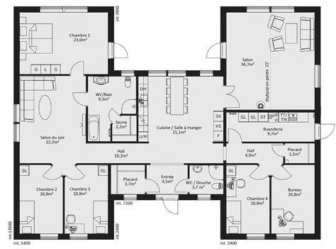 Maison De 7 Pieces Avec Cuisine Ouverte Surface Habitable 194m Plan Maison En U Plan Maison Plain Pied Plan De Maison Gratuit
