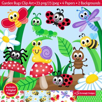 This High Quality Cute Garden Bugs Clip Art Paper Set Is Great For All Your Craft Projects This Set Includes 23 Fun Clip Art Digital Clip Art Digital Paper