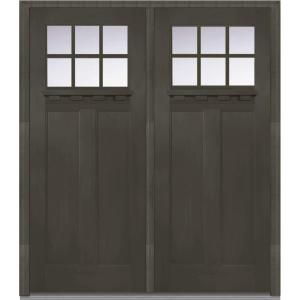 Mmi Door 72 In X 80 In Clear Glass Right Hand Craftsman 1 4 Lite Classic Stained Fiberglass Fir Prehung Front Door Front Door Mmi Door Double Doors Exterior