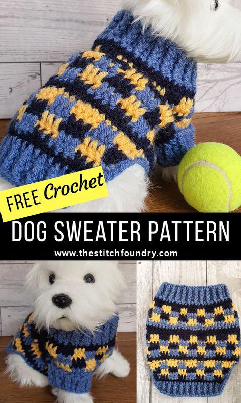 Crochet Dog Sweater Free Pattern, Dog Coat Pattern, Crochet Dog Patterns, Knit Dog Sweater, Dog Sweaters, Free Crochet, Dog Crochet, Knitting Patterns Free Dog, Sweater Patterns