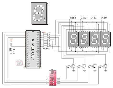 7-segment led displays circuit diagram