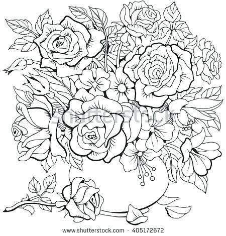Bouquet Of Flowers In Vase Free Printable Color Page Flower Coloring Pages Coloring Pages Printable Flower Coloring Pages