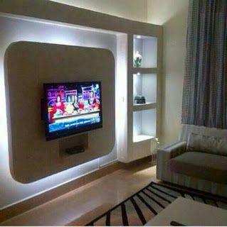 ديكور جبس للشاشه جبس بورد ديكورات جبس جبس ديكورات شاشات بلازما على الحائط Flat Screen Flatscreen Tv Tv