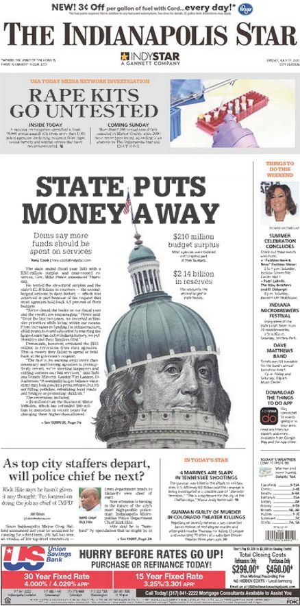 Indianapolis Star Front Page  July   Newspaper  Layout
