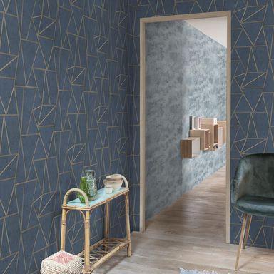 Tapeta Soho Grandeco Tapety Na Sciane W Atrakcyjnej Cenie W Sklepach Leroy Merlin Blue Wallpapers Blue And Gold Wallpaper Soho Grand