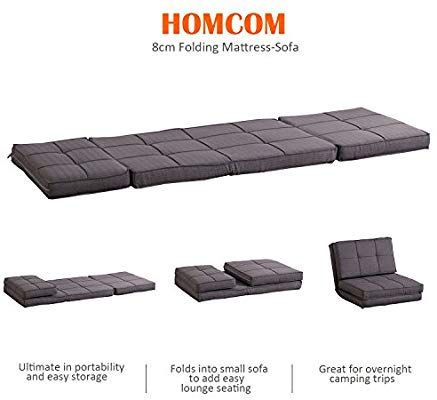 Homcom Single Sofa Bed Fold Out Guest Chair Foldable Futon Sleeper Sofabed Couch Lounger Bedding Pillow Grey Amazon Co Uk Kitchen Home Mobilya