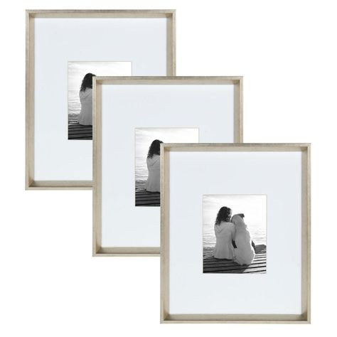 Kate And Laurel Calter 16 In X 20 In Matted To 8 In X 10 In Silver Picture Frame Set Of 3 Picture Frame Sets Silver Picture Frames Frames On Wall