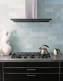 Decoration Blue Marine Subway Tile Backsplash In Modern Kitchen With Metal Chimney Extract Blue Backsplash Kitchen Glass Tile Backsplash Kitchen Kitchen Tiles