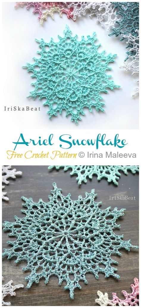 8 Winter Flower Snowflake Crochet Free Patterns - Crochet and Knitting - Knitting . 8 Winter Flower Snowflake Crochet Free Patterns - crochet and knitting - knitting is as easy as 3 Knitting boils d. Thread Crochet, Crochet Doilies, Crochet Flowers, Free Christmas Crochet Patterns, Free Crochet Snowflake Patterns, Doilies Crafts, Crochet Art, Crochet Winter, Holiday Crochet