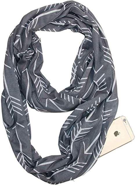 327d324cfac8 Grandwish Fashion Portable Women Scarf with Zipper Pocket Infinity ...