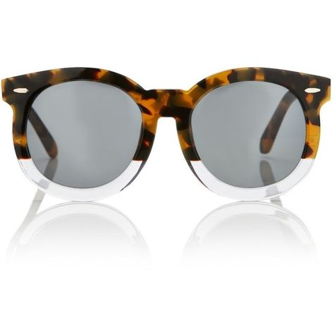 9b3d55193727 Karen Walker Eyewear Tort Super Duper Thistle Sunglasses ( 295) ❤ liked on  Polyvore featuring