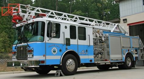 White and Carolina Blue fire truck from the Chapel Hill FD in North Carolina. Chapel Hill is the home of the UNC (Univ. Of North Carolina) Tar Heels.