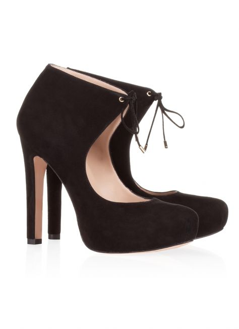 d58b3394940d Pura Lopez Georgina- High heel shoes with concealed platform and ankle lace  closure by Pura Lopez. Crafted from black suede.