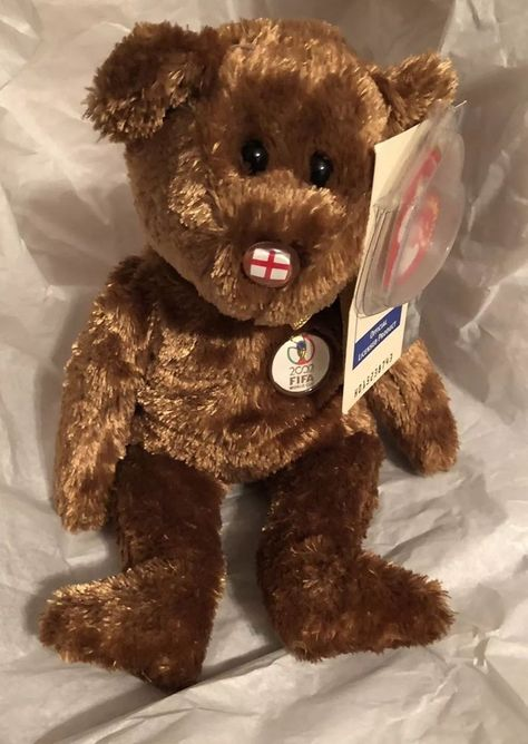 Retired Ty Beanie Baby Exclusive 2002 FIFA World Cup England Champion Brown  Bear  fe2e7db25aa3