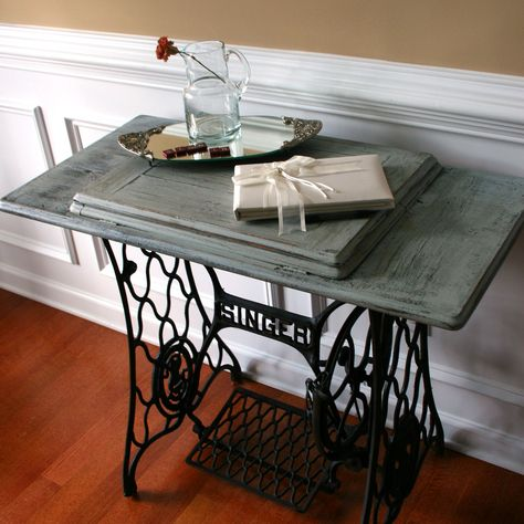 Sewing Machine Table Cottage Chic Beach House Grey Blue Entryway