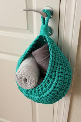Hanging Basket Medium Size ~ Free Pattern. Maybe out of jeffs old shirts.