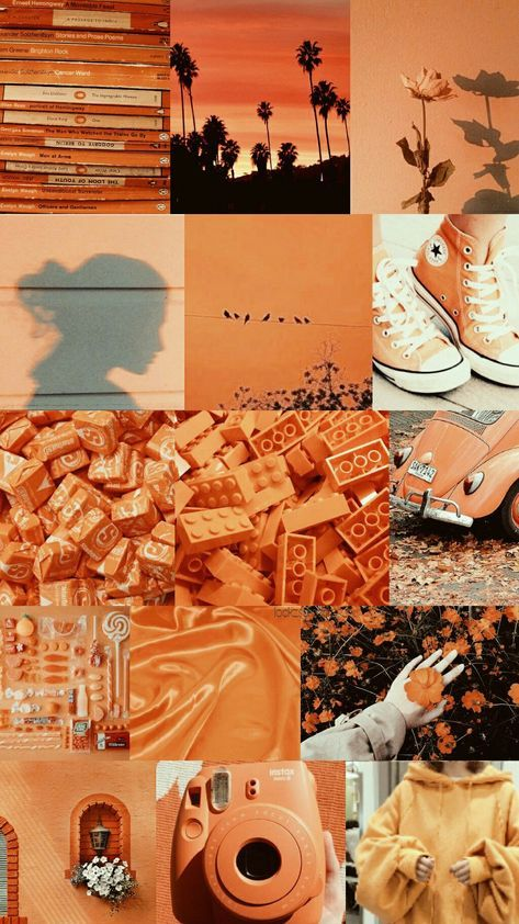 15 Trendy Orange Aesthetic Wallpaper Collage Di 2020 Dengan