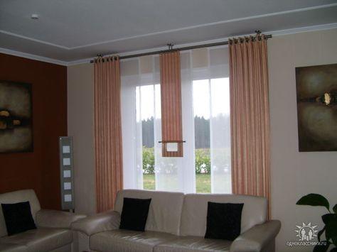 Schiebe-Gardine fürs Wohnzimmer in braun und beige mit - gardine wohnzimmer modern