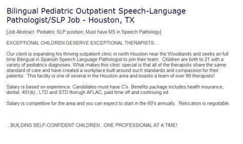 Bilingual Pediatric Outpatient Speech Language Pathologist Slp Job
