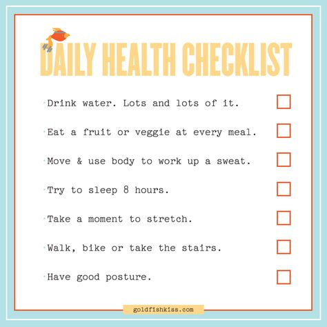 A Daily Checklist For Healthy Living u2022 Goldfish Kiss Office - daily checklist