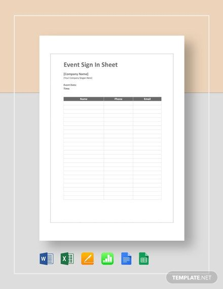 Instantly Download Event Sign In Sheet Template Sample Example In Microsoft Word Doc Microsoft Excel Xls Sign In Sheet Template Sign In Sheet Event Sign