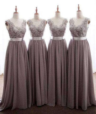 f3ef00d948b17 Grey Long Lace Bridesmaid Dress Chiffon Dress