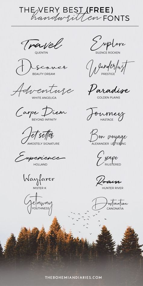 A roundup of the best handwritten #fonts for travel blogging and design that