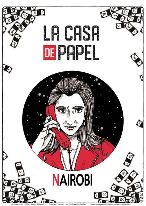 Nairobi Poster Tv Show Money Heist La Casa De Papel Etsy Poster Art Nairobi Cards