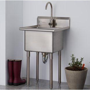 Kohler Gilford 30 X 22 Wall Mounted Service Sink Wayfair Laundry Sink Stainless Steel Utility Sink Laundry Room Sink