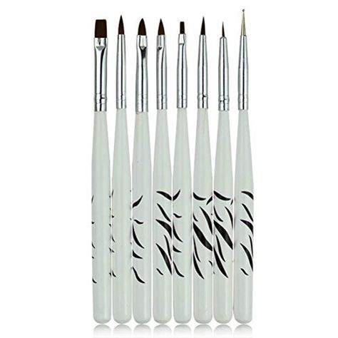 Cineen Professional 8 Pcs Zebra Nail Art Design Painting Brushes Dotting Drawing Pen Nail Art Brush Tools Striper Liner Dotte Nail Art Kit Nail Art Diy Nail Art Brushes