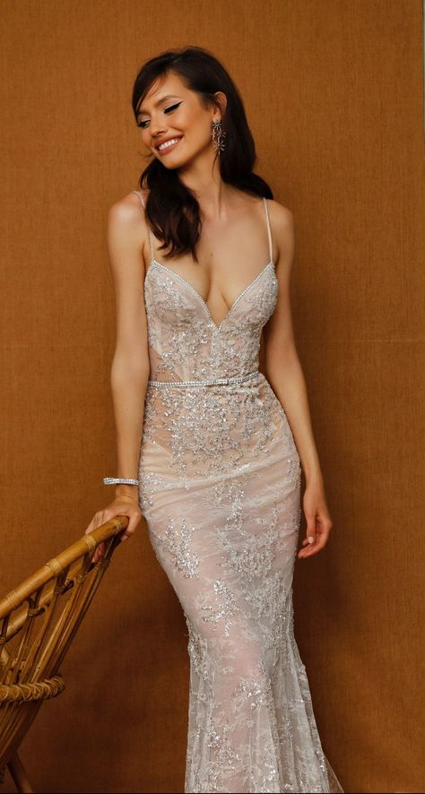 Spaghetti strap sheer bridal gown
