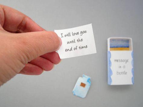 Message in a bottle matchbox card love mail boyfriend