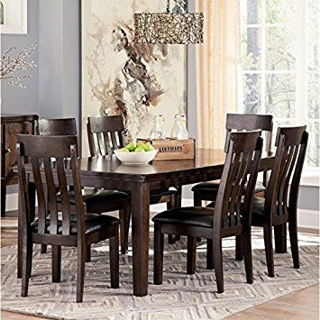 Ashley Haddigan 7 Piece Dining Set In Dark Brown Review With