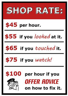 Funny SHOP RATES Sign for garage - shop art MAN CAVE hourly rate