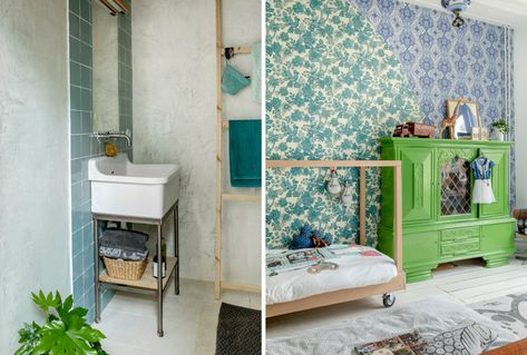 Slaapkamer Vintage Blue : Vtwonen binnenkijken vtwonen tegels slaapkamer groene vintage kast